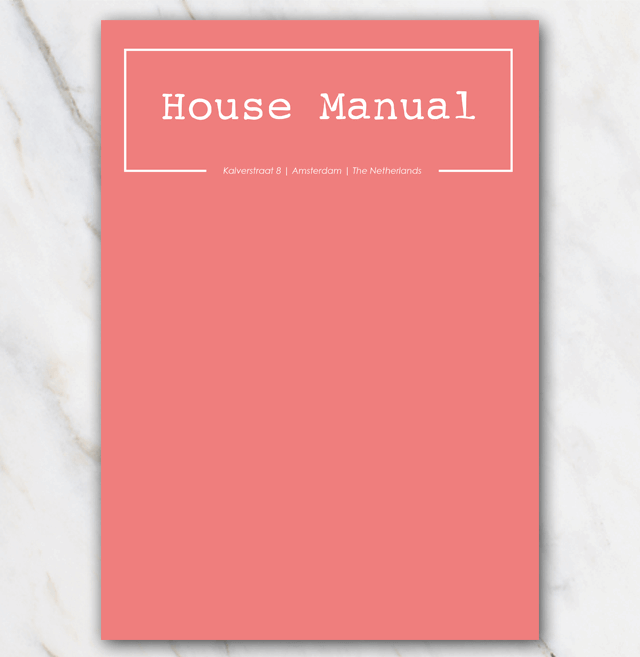 AirBnB House manual coverpage coral red