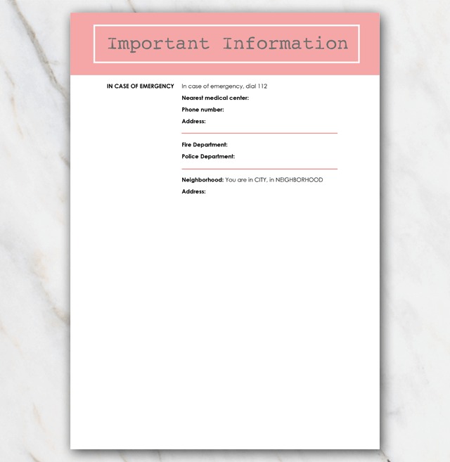 AirBnB House manual page 3 coral red
