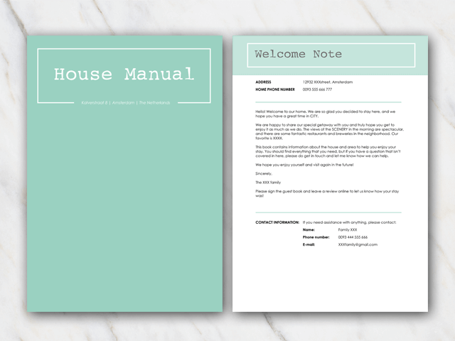 AirBnB house manual with green coverpage