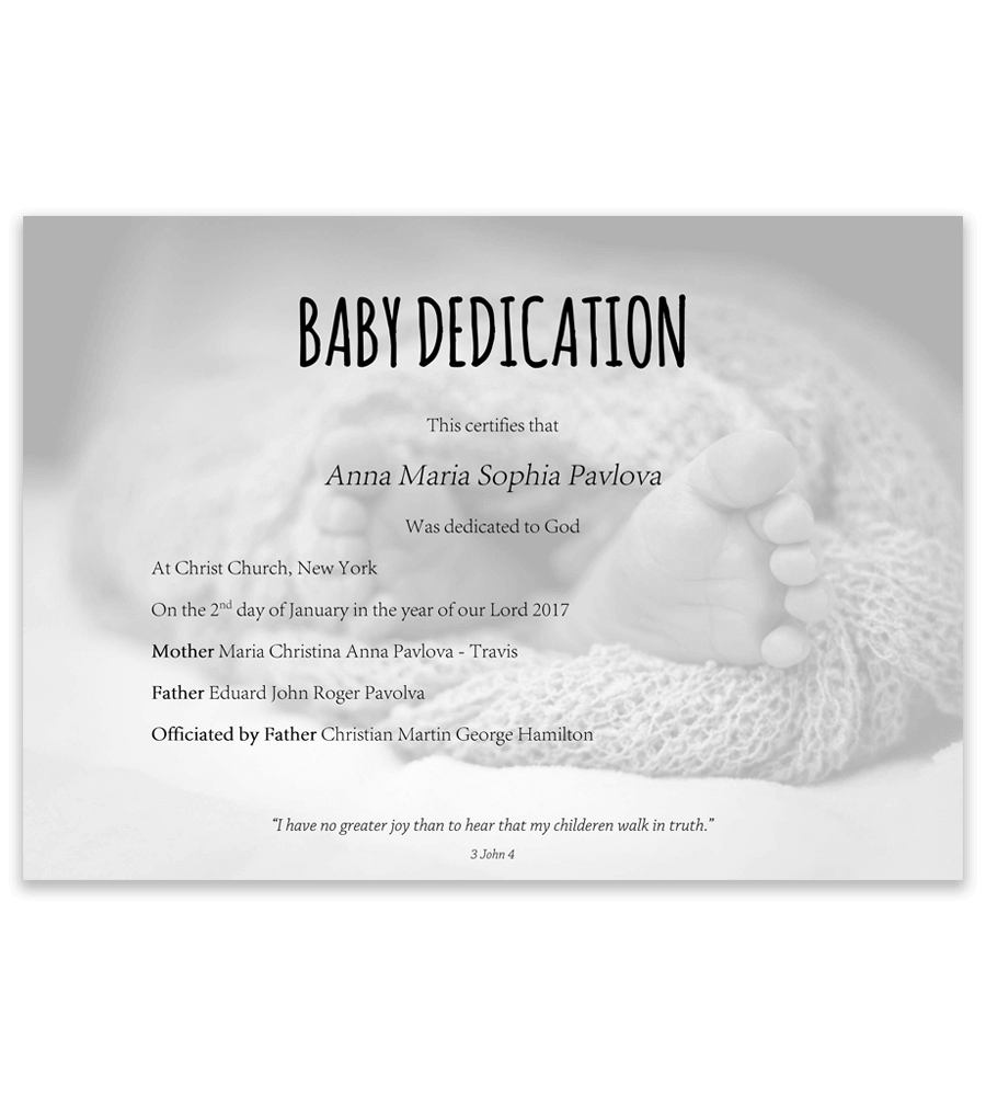 Baby dedication certificate with baby feet in blanket on background