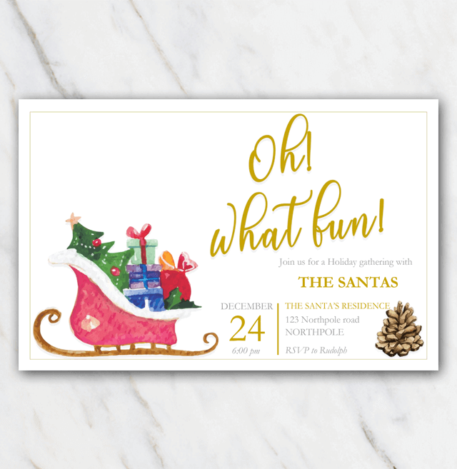 Christmas Party Invitation template with sleigh pine cone and golden letters