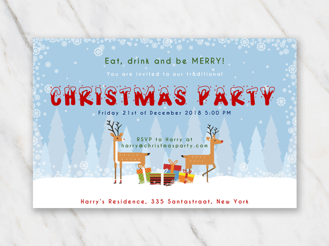 Printable and customizable Christmis invitation template reindeer in snow