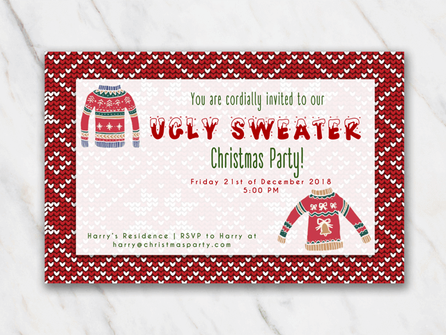 Printable Christmas party invitation ugly sweater