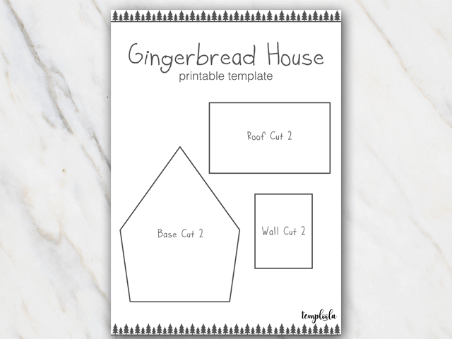 Example of gingerbread house template in black and white