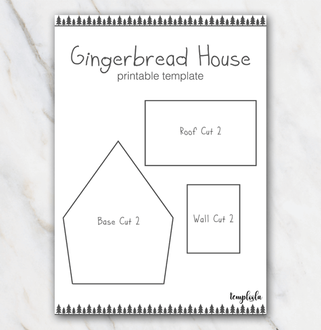 Gingerbread house template with christmastrees in black and white