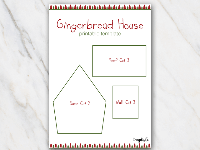 Example of gingerbread house template in red and green with christmas tree border