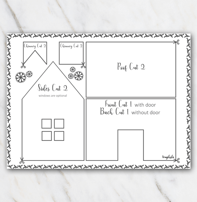 Template for building a gingerbread house to print in black and white