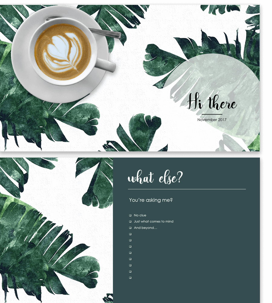 Example of Powerpoint presentation template with banana leaves