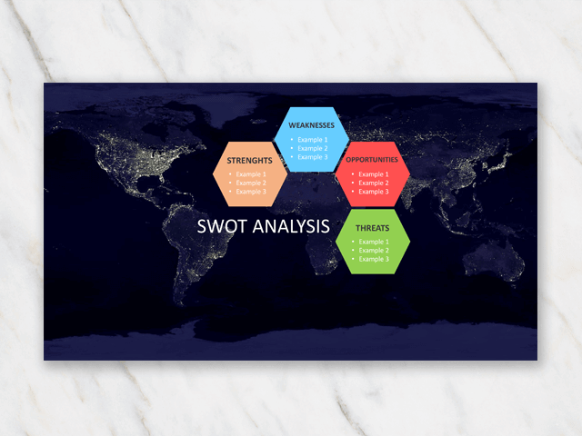 SWOT analysis with world map in background and hexagon blocks in different colors