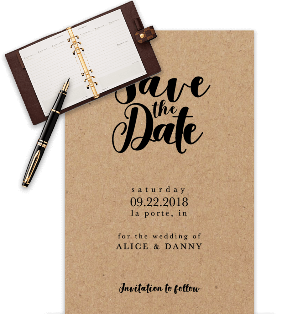 Example of wedding save-the-date templates in Word with agenda prop