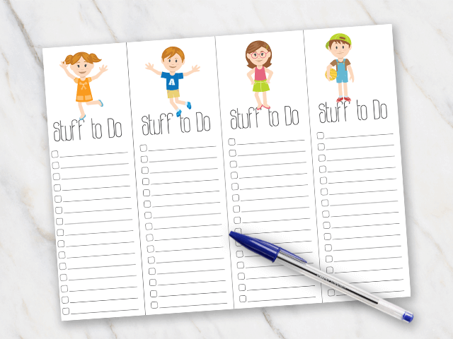 Printable action plan with playful figures on it