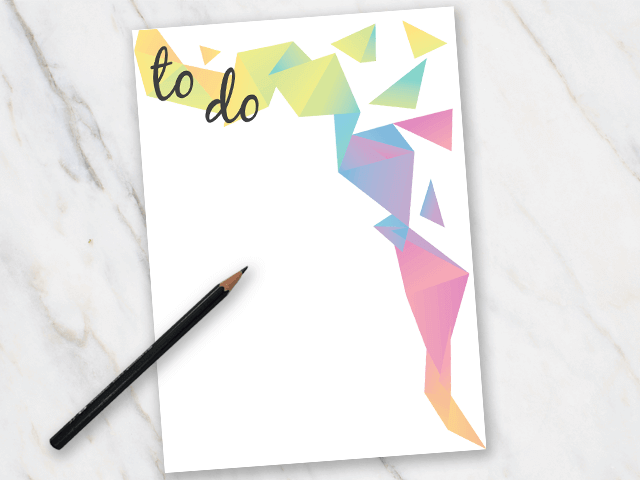 Printable action plan with colorful element