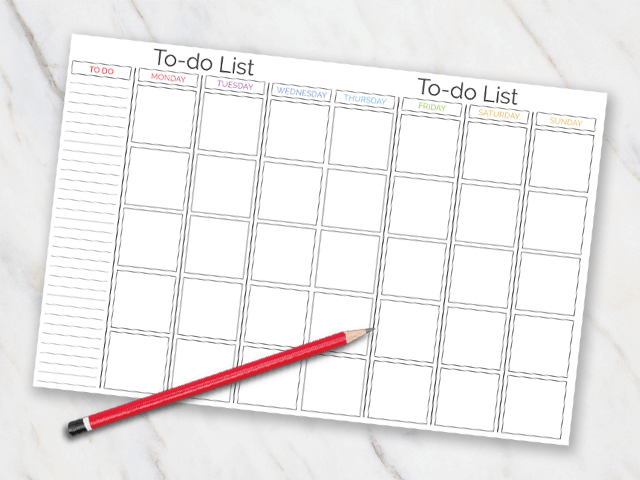 Printable action plan with different sections for each day of the week