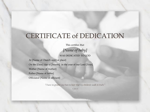 baby dedication certificate black and white