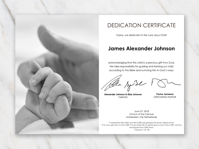 Baby dedication certificat - mommy holding hand baby - black and white