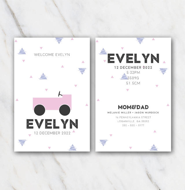 Automobile birth announcement template for girl