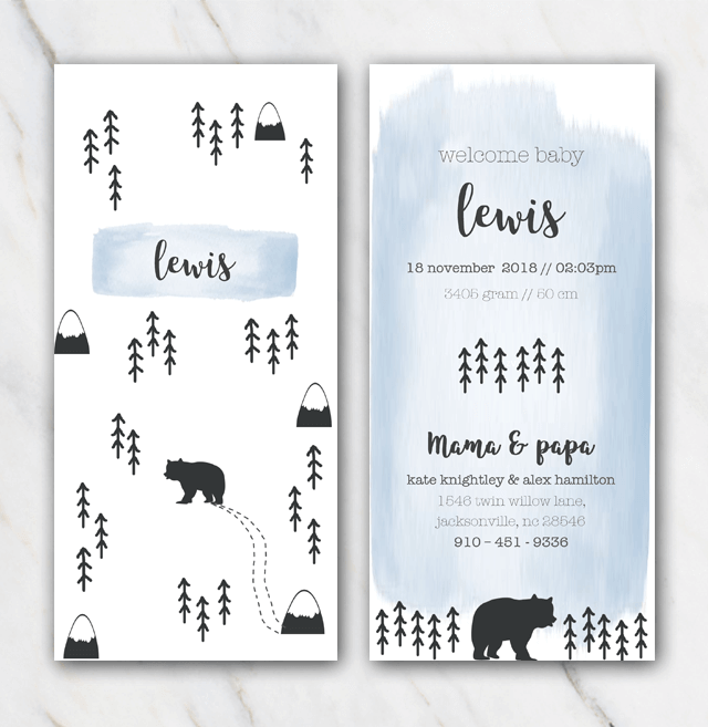 Mountain and bear birth announcement template for boy