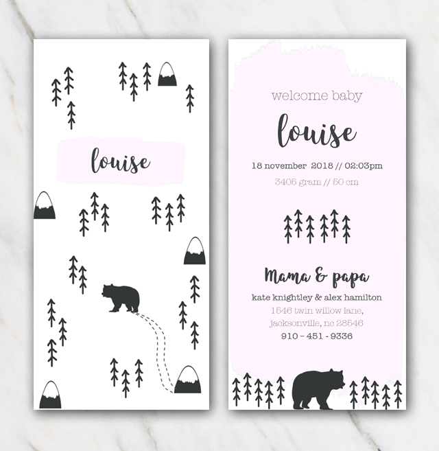 Mountain and bear birth announcement template for girl