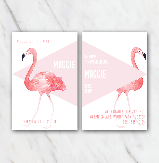 Pink flamingo birth announcement template for girl