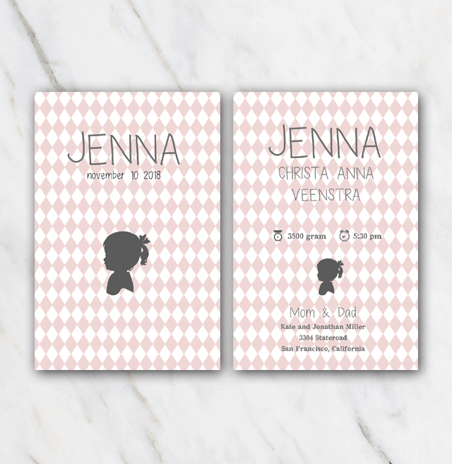 Silhouette birth announcement template for girl