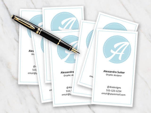 Business Card template with ligth blue and white colors