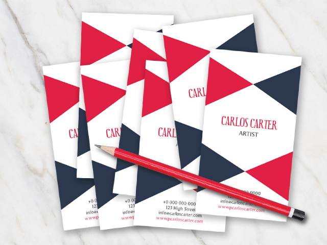 Business card template with dark grey and red colors