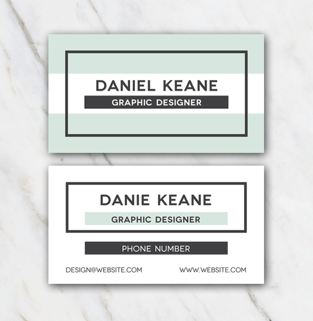 Daniel Keane Business Card with mint green and white colors