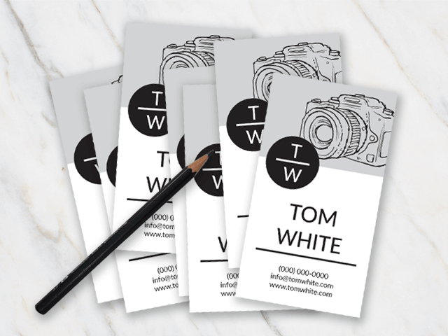 Business card template with grey white and black colors