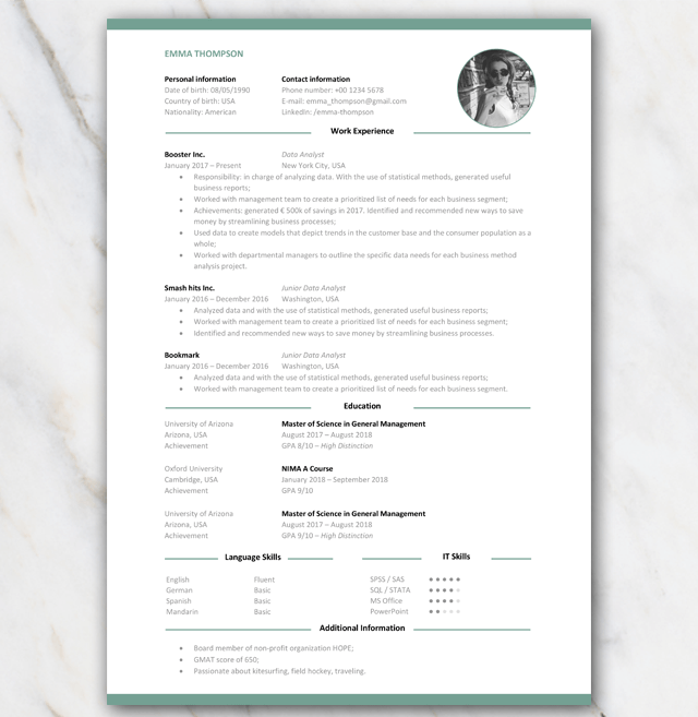 Consultancy Resumé CV with green elements 1 page