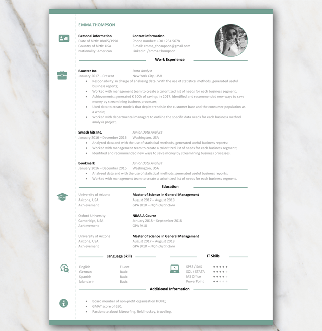 Consultancy Resumé CV with green elements and icons 1 page