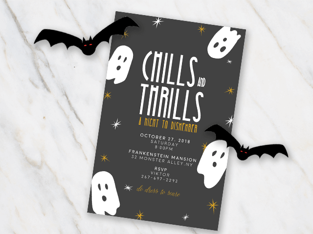 Halloween invitation with ghosts