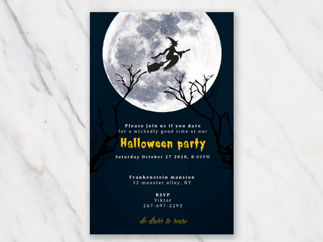 Halloween party invite template with dark background and witch on broom