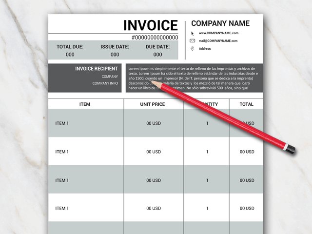 Invoice template for Word with black and grey colors