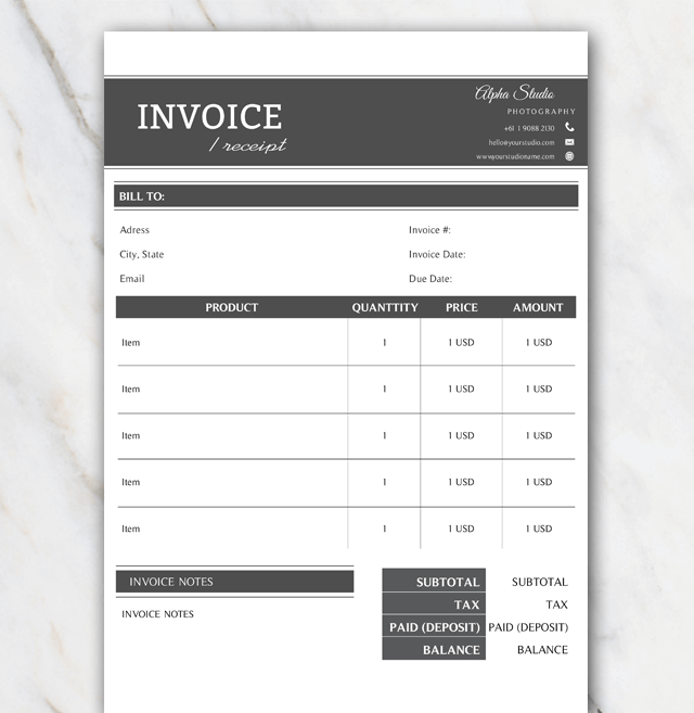 Alpha invoice Template for Word