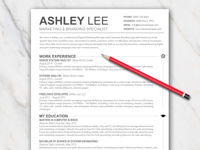 Example of a 1 page clean resume template