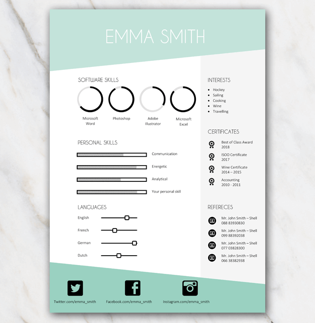 Page 2 of Emma Smith resume template with green and grey colors and stylish elements