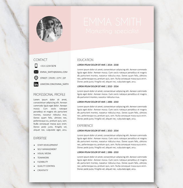 Pink and grey resume template from Emma Smith page 1