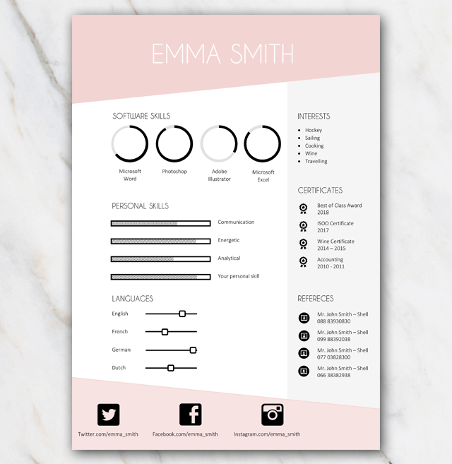 Page 2 of Emma Smith pink and grey resume template