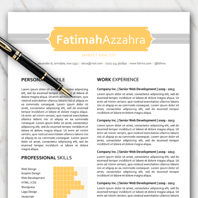 one page resume template with grey and yellow colors
