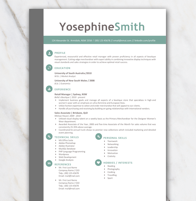 Resume template 1 page with sophisticated look and feel