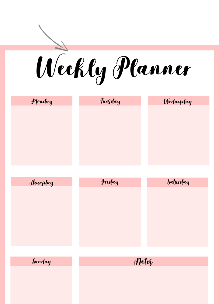 Example of a pink colored printable weekly planner portrait