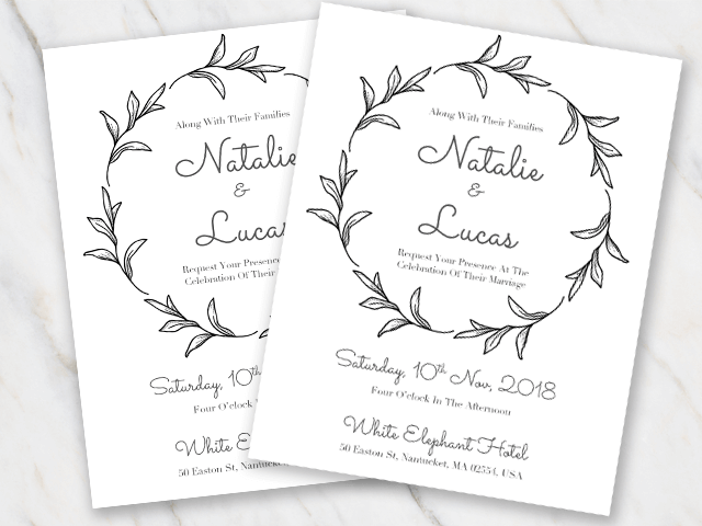 Invitation template with black and white features in round shape