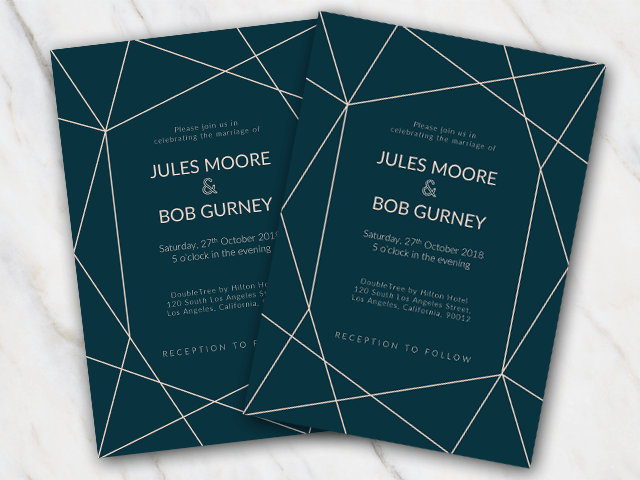 Winter wedding invitation template in dark blue and lines