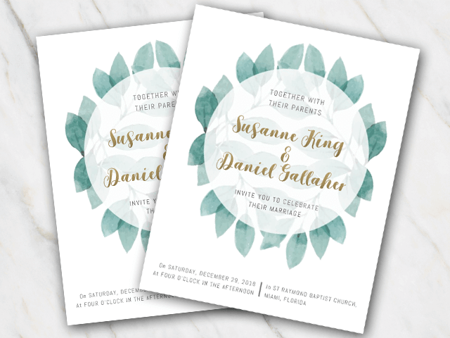 Wedding invitation template with a round of green leaves and gold font