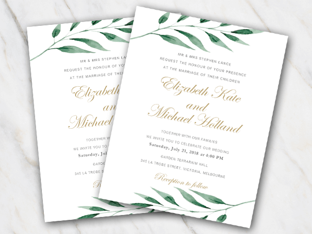Wedding invitation template in Word with olive branch