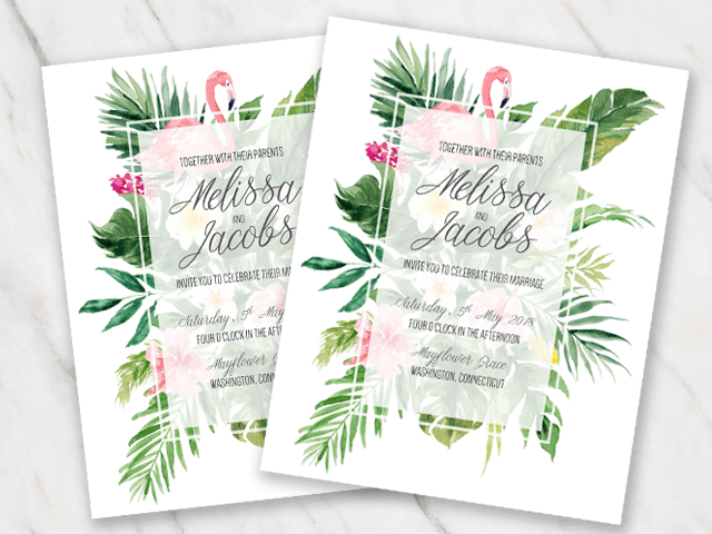 Invitation template in Word with a tropical theme and flamingo