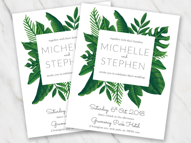 Wedding invitation template white background and green tropical leaves