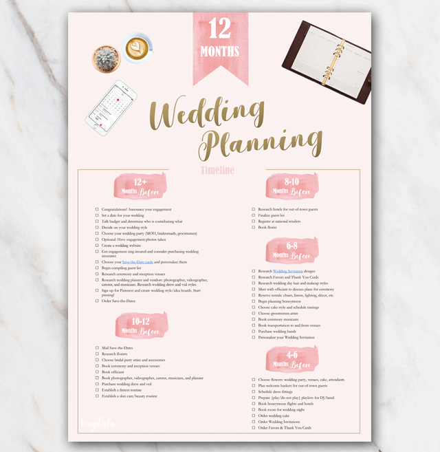 1 year in advance printable wedding planning checklist in PDF page 1