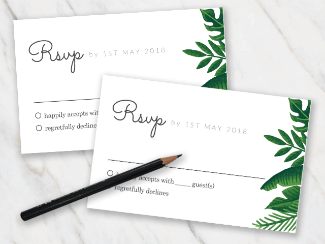 wedding rsvp template with a green tropical theme