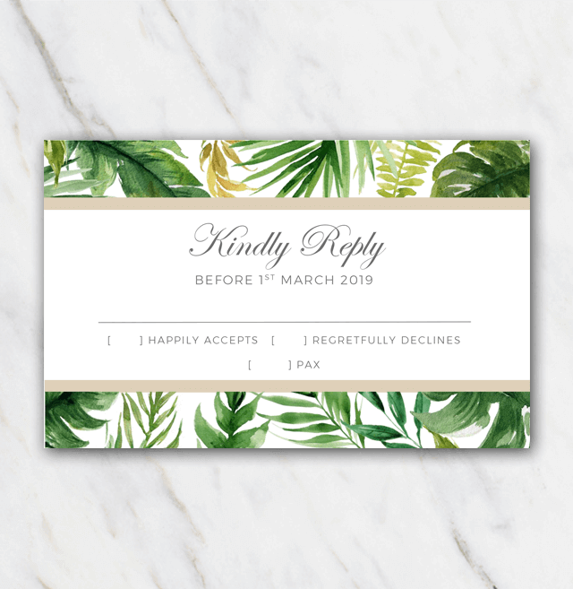 Tropical palm tree leaves wedding rsvp template